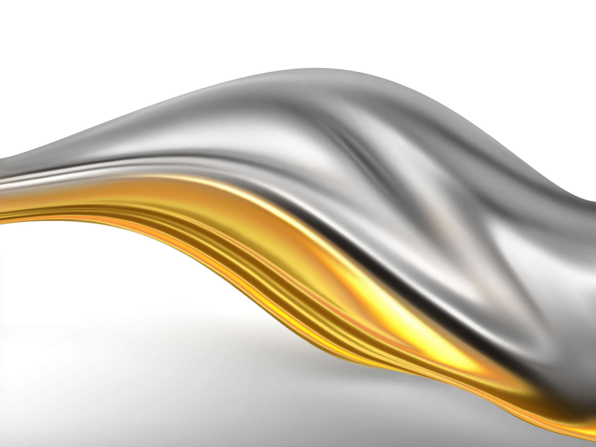 Wave Of Gold And Silver Silk On A Light Background