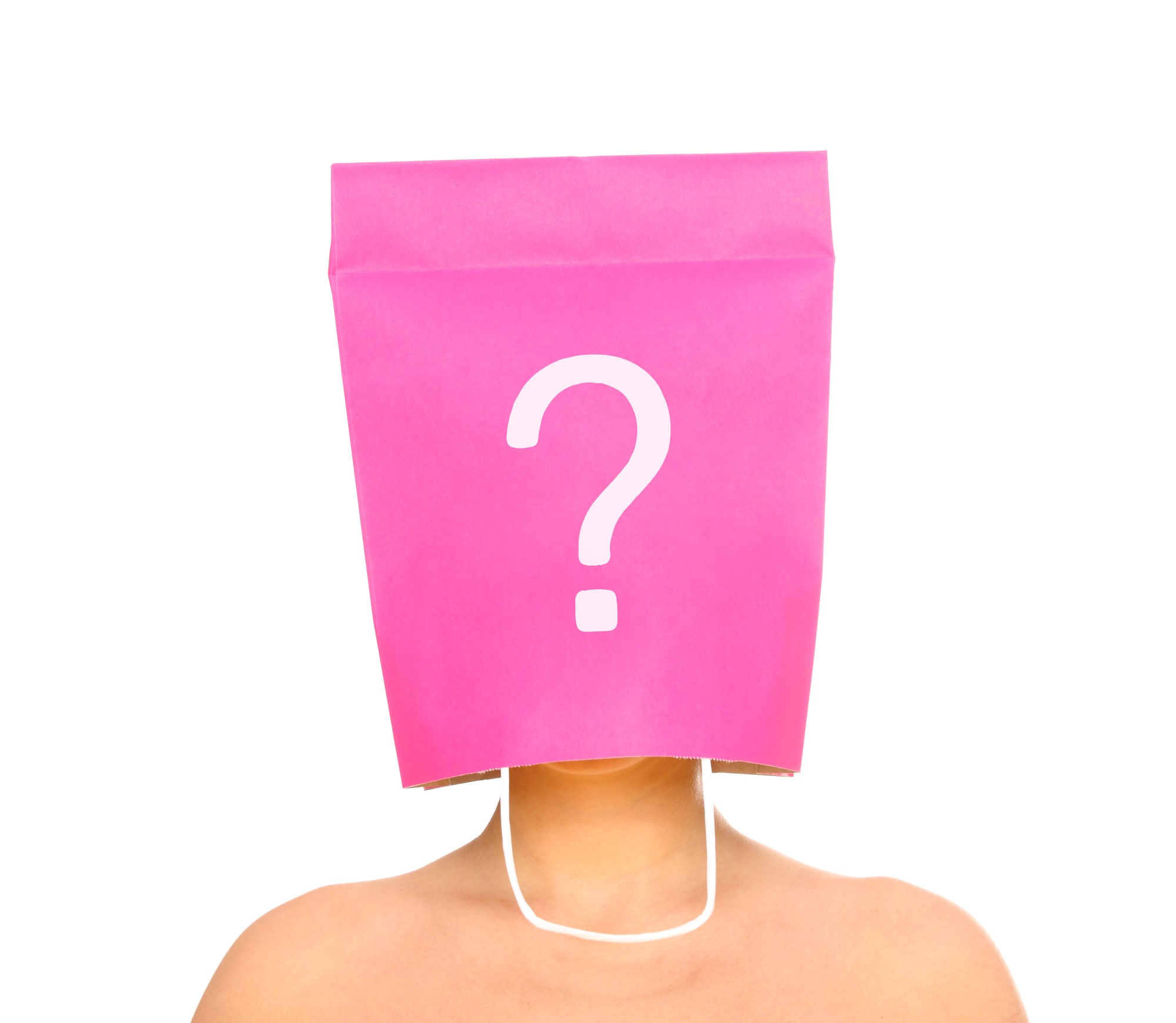 A Portrait Of A Young Woman With Her Head Covered With A Pink Shopping Bag